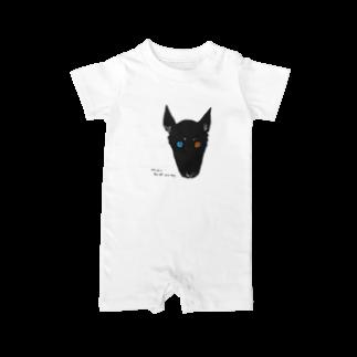 mya-mya=MIYA JUNKO's shop 02のodd-eyed dog Baby rompers