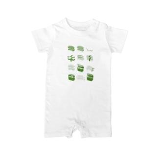 お寿司クン(一覧)緑色 Baby rompers