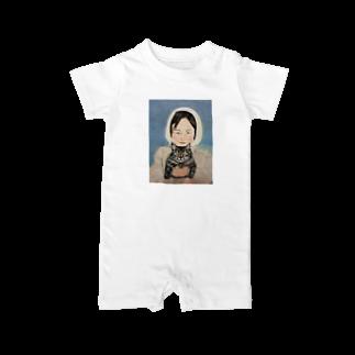 タコ夜勤@スタンプ制作致しますの少女のデザイン Baby rompers