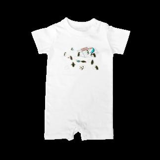 ムクデザインのペンギン・マシュマロ Baby rompers