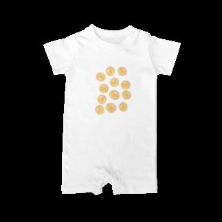 水草のオレンジ玉いっぱい Baby rompers