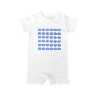 水草のスーパーブルー玉 Baby rompers