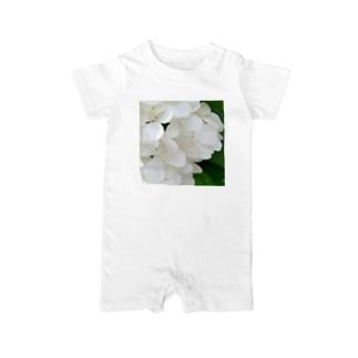 白紫陽花から落ちる雫 Baby rompers