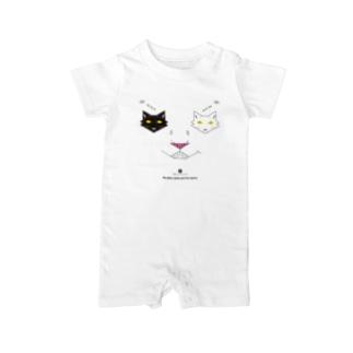 白黒猫ニヤリ2015 Baby rompers