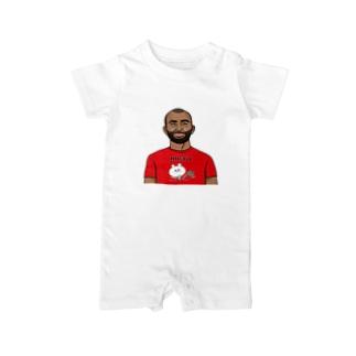 くまコロりん『ラグビーTシャツ』着用イメージ Baby rompers