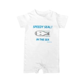 SPEEDY SEAL! 突進アザラシ Baby rompers