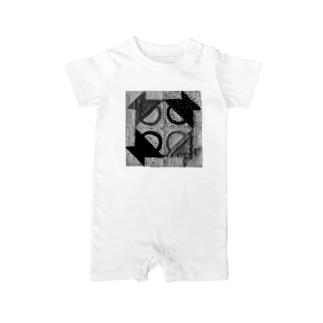スタンプバスケット(モノクロ) Baby rompers