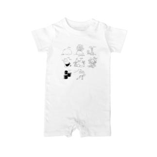 危険なモンスター(草原) 白 Baby rompers