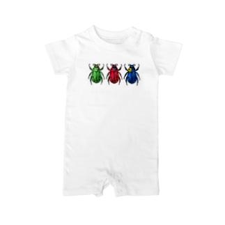 彩りコガネムシ(3色) Baby rompers