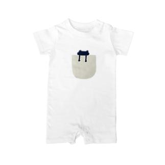 pocket シリーズ(frog_navy) Baby rompers