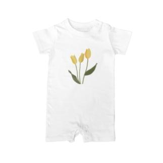 yellow tulip Baby rompers