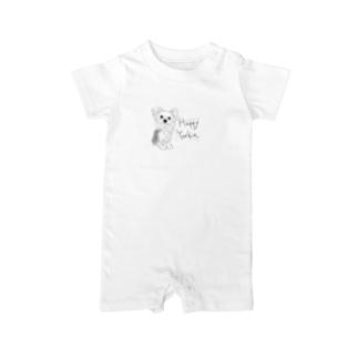 白黒ヨーキーちゃん01 Baby rompers