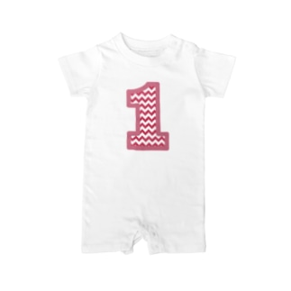 Number Chevron (pink) Baby rompers