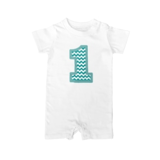 Number Chevron (blue) Baby rompers
