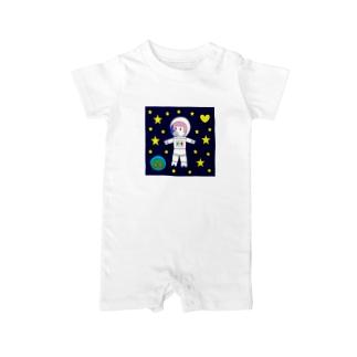 宇宙遊泳するBURARA Baby rompers