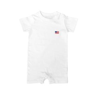 アメリカ国旗 胸ロゴ Baby rompers