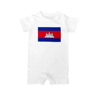 カンボジア国旗 胸ロゴ Baby rompers