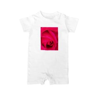 まっピンクなバラ Baby rompers