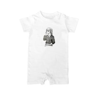 shikazu fashionの可愛いペン画イラスト Baby rompers