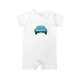 噂の外国の青い車 Baby rompers