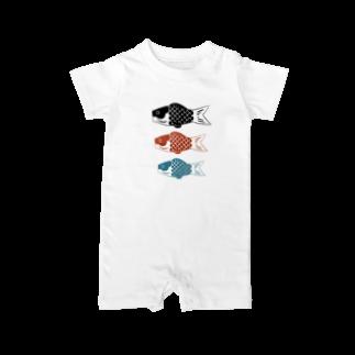 りのの鯉のぼり(3匹) Baby rompers
