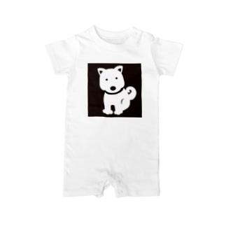 シンプルわんわん(犬) スクエア Baby rompers
