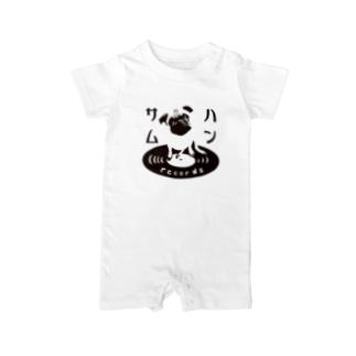 ハンサムレコードロゴ(黒) Baby rompers