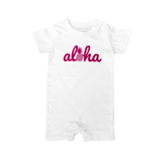 aloha 27(heart)ピンクロゴ Baby rompers