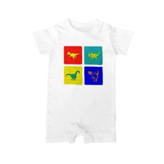 Windowsっぽい色の恐竜デザイン Baby rompers