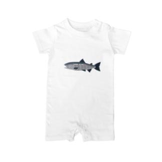 鮭です Baby Rompers