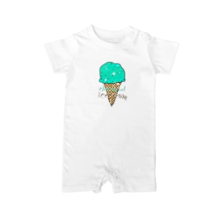 なでしこ@デザインのチョコミントアイスクリーム Baby rompers
