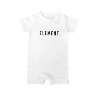 パーソナルジム ELEMENT公式ショップのELEMENT ブラックロゴ アパレル Baby rompers