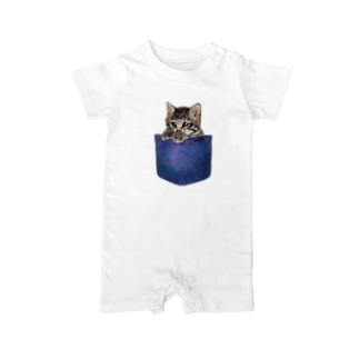 デニムポケットからひょっこり子猫ちゃん Baby rompers