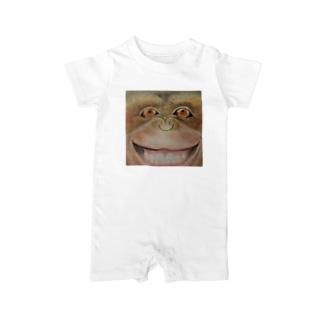 tutumu顔アート チンパンジー Baby rompers