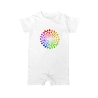 ひろがる虹のしずく Baby rompers