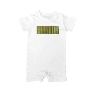 オリーブと白の縦縞 Baby rompers