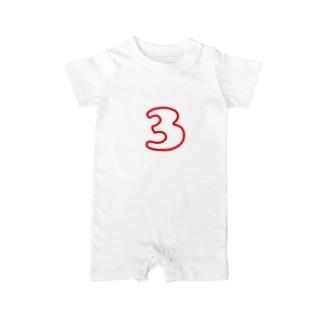 3歳のふしめ (Red) Baby rompers