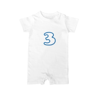 3歳のふしめ (Blue) Baby rompers