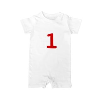 1歳のふしめ (Red) Baby rompers