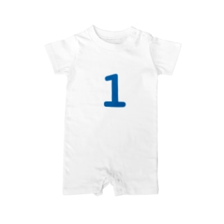 1歳のふしめ (Blue) Baby rompers