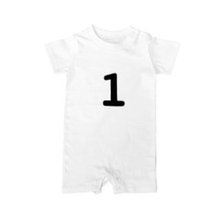 ふしめTシャツの1歳のふしめ (Black) Baby rompers