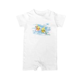 Sweet Cockatiels/浮き輪で海水浴 Baby rompers