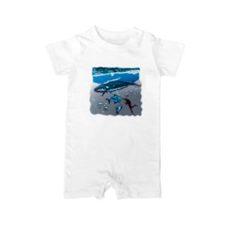 油絵描きの小物売り場のスカンジナビアの海のお散歩 Baby rompers