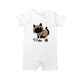 72dpi猫(オシャム) Baby rompers