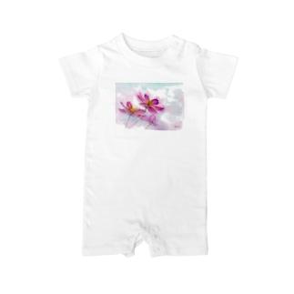 コスモス「どこまでも」透明水彩お花プリント Baby rompers