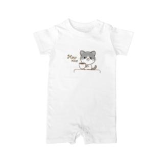 大人のためのねこの黒白猫のシンプルモノトーン Baby rompers