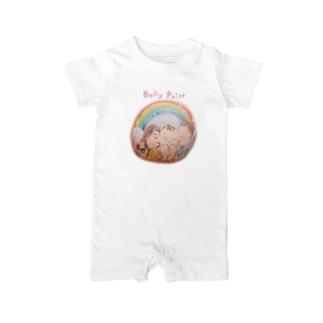 赤ちゃんと虹のベリーペイント Baby rompers
