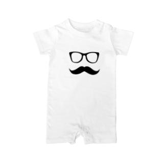 MFD 黒縁眼鏡と髭 Baby rompers