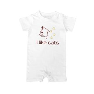 シンプルな猫好きに Baby rompers