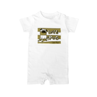 LOVE PUG BORDER Baby rompers